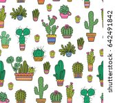 cute vector cacti pattern.... | Shutterstock .eps vector #642491842