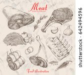 set of hand drawn meat isolated.... | Shutterstock .eps vector #642494596