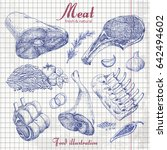 set of hand drawn meat isolated ... | Shutterstock .eps vector #642494602