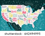 usa map with states   pictorial ... | Shutterstock .eps vector #642494995