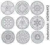 occult  mystic  spiritual ... | Shutterstock . vector #642496492
