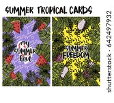 summer tropical cards with... | Shutterstock .eps vector #642497932