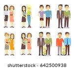 set of gay lgbt happy families. ...   Shutterstock . vector #642500938