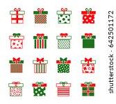 christmas gift boxes icons set. ...