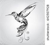 hummingbird with vegetation...   Shutterstock .eps vector #642507928