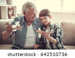 grandpa and grandson are... | Shutterstock . vector #642510736
