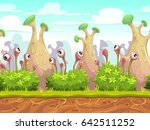 seamless fantasy landscape with ... | Shutterstock .eps vector #642511252