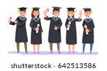 group happy smiling graduates... | Shutterstock .eps vector #642513586