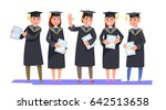 group happy smiling graduates... | Shutterstock .eps vector #642513658