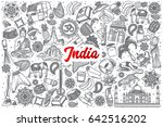 hand drawn india doodle set... | Shutterstock .eps vector #642516202