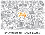 hand drawn italy doodle set... | Shutterstock .eps vector #642516268
