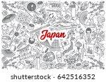 hand drawn japan doodle set... | Shutterstock .eps vector #642516352