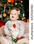 funny little girl sits before... | Shutterstock . vector #642526582