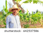middle aged farmer and his farm | Shutterstock . vector #642537586