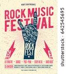 rock music festival poster.... | Shutterstock .eps vector #642545695