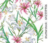 seamless pattern with flowers.... | Shutterstock .eps vector #642559906