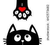 Stock vector black cat looking up to paw print with red heart i love cats text cute cartoon funny character 642573682