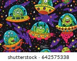 seamless pattern with cartoon... | Shutterstock .eps vector #642575338