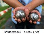 Hand Of Holding Petanque Ball.