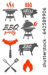 set of bbq graphic. barbecue... | Shutterstock .eps vector #642589906