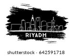 riyadh skyline silhouette. hand ... | Shutterstock .eps vector #642591718