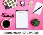 blank paper mock up on bright... | Shutterstock . vector #642593386