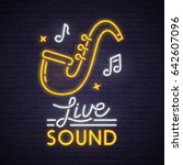 live sound neon sign. neon sign ... | Shutterstock .eps vector #642607096