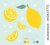 lemon  lemon slice with flowers ... | Shutterstock .eps vector #642615772