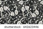 hand drawn musical  headphones  ... | Shutterstock .eps vector #642623446