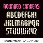 narrow sanserif font with... | Shutterstock .eps vector #642644902