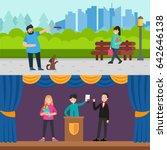 happy people horizontal banners ... | Shutterstock .eps vector #642646138