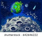 cartoon colorful space... | Shutterstock .eps vector #642646222