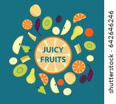 colorful organic fresh fruits... | Shutterstock .eps vector #642646246