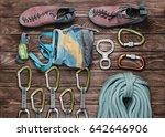 equipment for climbing sport on ... | Shutterstock . vector #642646906