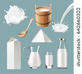 set of icons of dairy products  ... | Shutterstock . vector #642660322