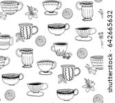 hand drawn graphic tea cups.... | Shutterstock .eps vector #642665632