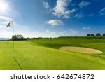 green golf course  hole and... | Shutterstock . vector #642674872