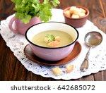 soup puree from zucchini with... | Shutterstock . vector #642685072