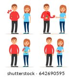set. happy couple love people.... | Shutterstock .eps vector #642690595