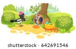 magpie and mouse. vector... | Shutterstock .eps vector #642691546