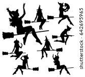vector silhouettes of flying... | Shutterstock .eps vector #642695965