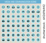 media and communication icon set | Shutterstock .eps vector #642696442