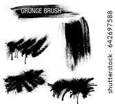 vector set of grunge brush... | Shutterstock .eps vector #642697588