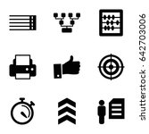 set of 9 thin filled icons such ...