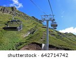 cable way  chairlift in a sunny ... | Shutterstock . vector #642714742