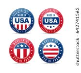 four glossy badges with united... | Shutterstock .eps vector #642741562