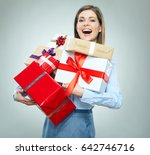 happy young business woman... | Shutterstock . vector #642746716