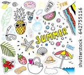 bright summer doodle set | Shutterstock .eps vector #642755116