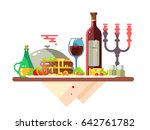dinner table with food at... | Shutterstock .eps vector #642761782