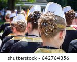 majorettes hairstyle viewed... | Shutterstock . vector #642764356